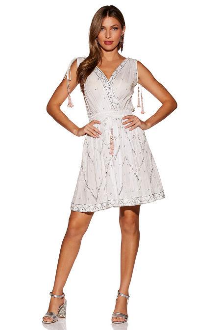Embellished tassel sleeveless dress image