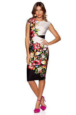Display product reviews for Floral and mesh sheath dress