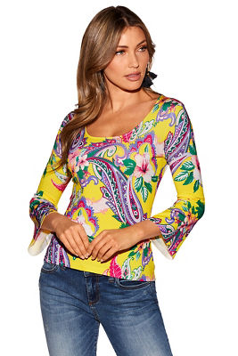 Floral paisley scoop-neck sweater