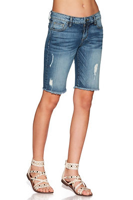 frayed hem denim bermuda short