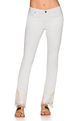 Intricate lace ankle jean
