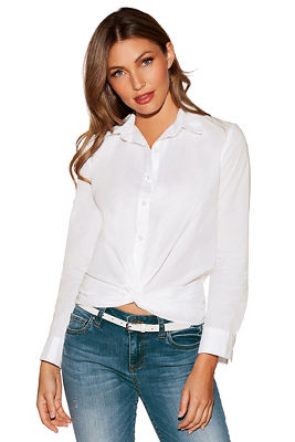 Knotted long-sleeve shirt