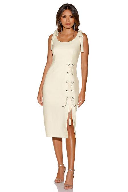 Lace-up sheath dress image