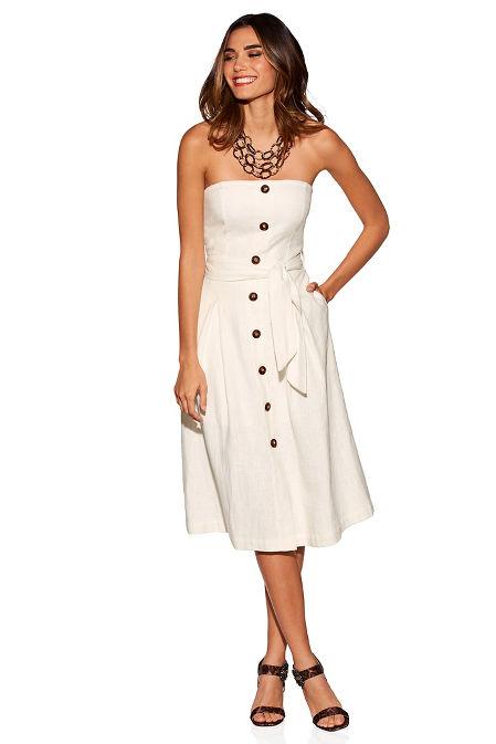 Linen belted button dress image