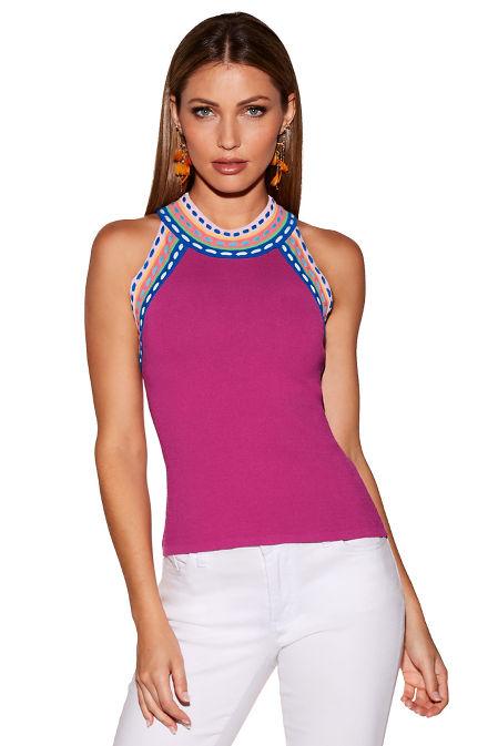 Multicolor stitch sweater image