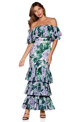 Palm ruffle maxi dress