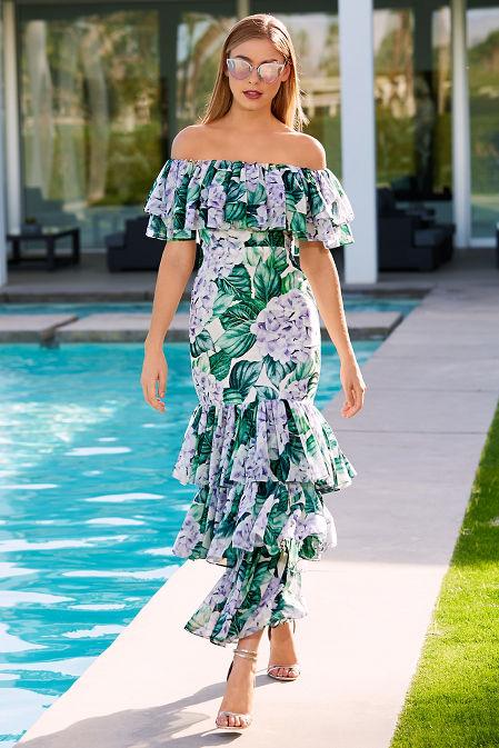 Palm ruffle maxi dress image