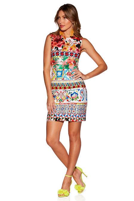 Patterned embellished sheath dress image