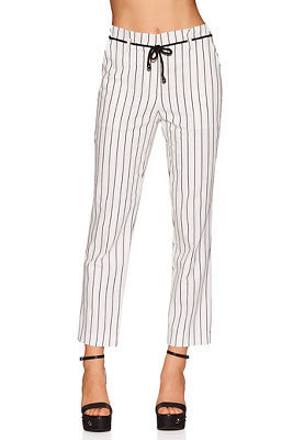 Pinstripe tie-front pant