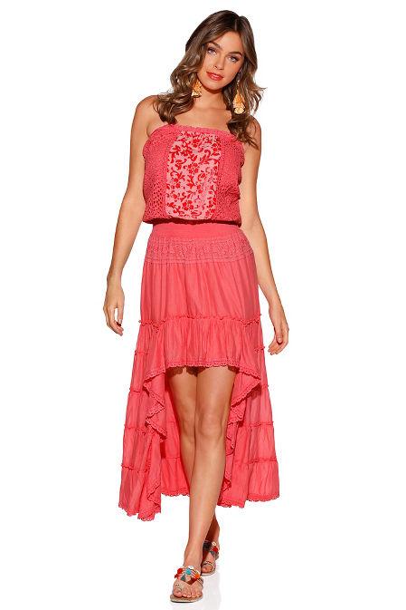 Strapless crochet hi-lo maxi dress image