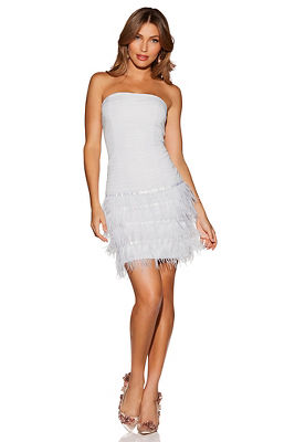 Display product reviews for Strapless feather dress