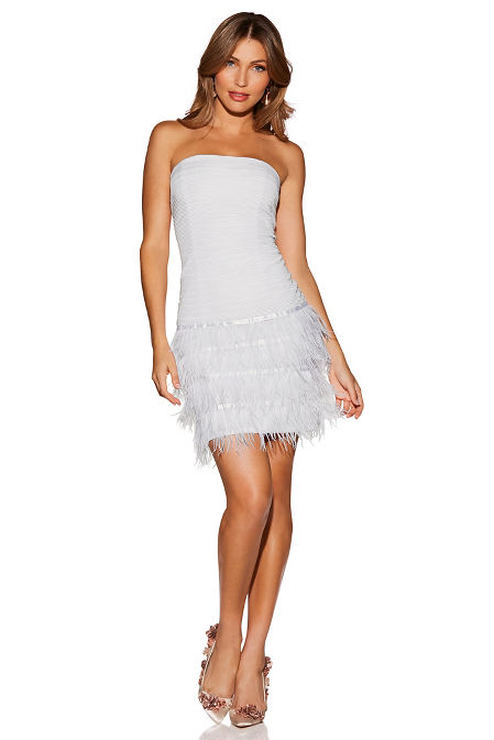 Strapless feather dress image