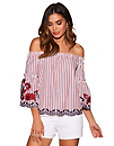 Stripe Embroidered Off-the-shoulder Top Photo