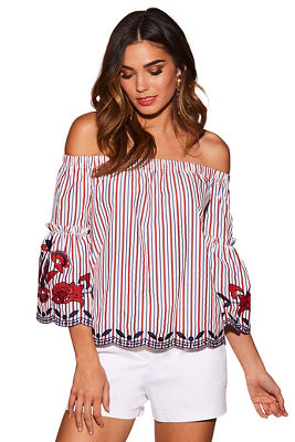 Stripe embroidered off-the-shoulder top