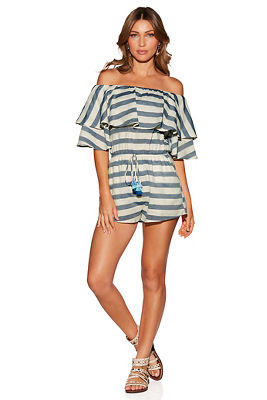Stripe tassel off-the-shoulder romper