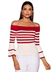 Bold Stripe Tiered Sleeve Sweater Photo