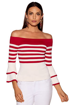 Bold stripe tiered sleeve sweater