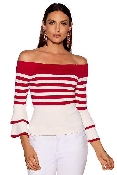 Bold stripe tiered sleeve sweater image