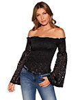 Off The Shoulder Lace Flare Sleeve Top Photo
