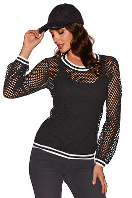 racer stripe mesh top