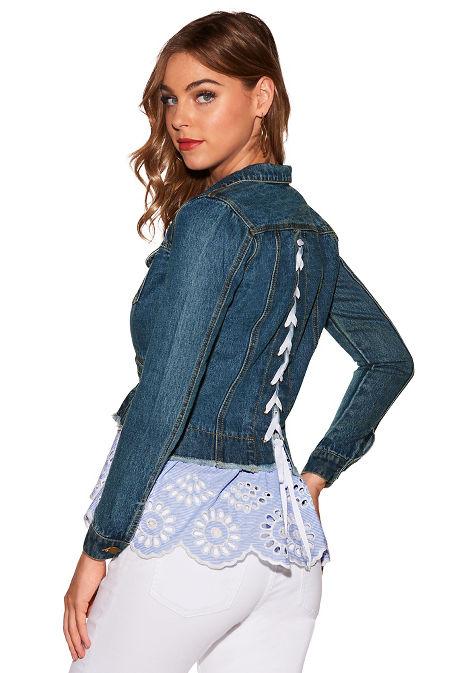 Denim eyelet lace-up jacket image
