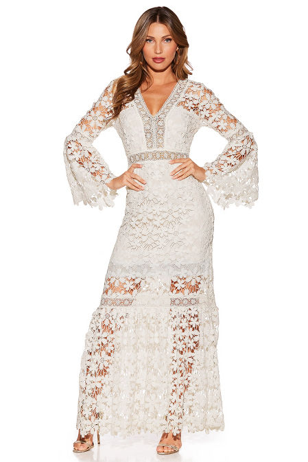 Lace v-neck maxi dress image