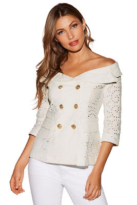 Off-the-shoulder eyelet double-breasted jacket
