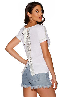 Slub v neck lace-back top