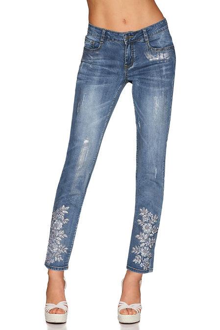 Floral pearl applique skinny jean image