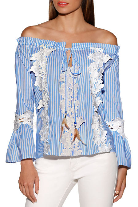 Lace inset stripe blouse image