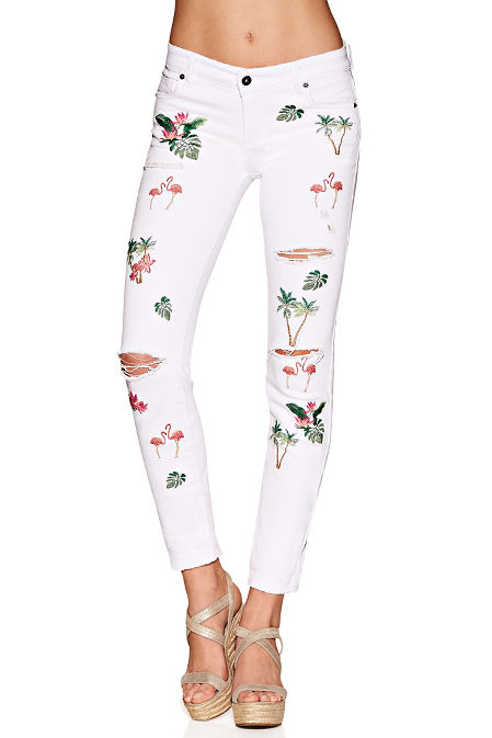 Palm tree embroidered jean image