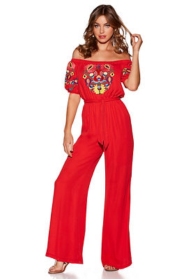 Off-the-shoulder floral embroidered jumpsuit
