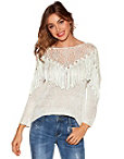 Open Knit Fringe Sequin Sweater Photo