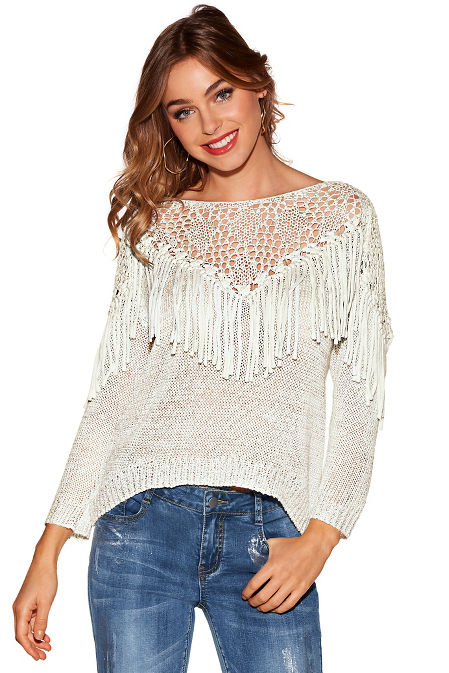 Open knit fringe sequin sweater image