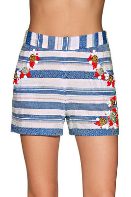 Beaded striped short