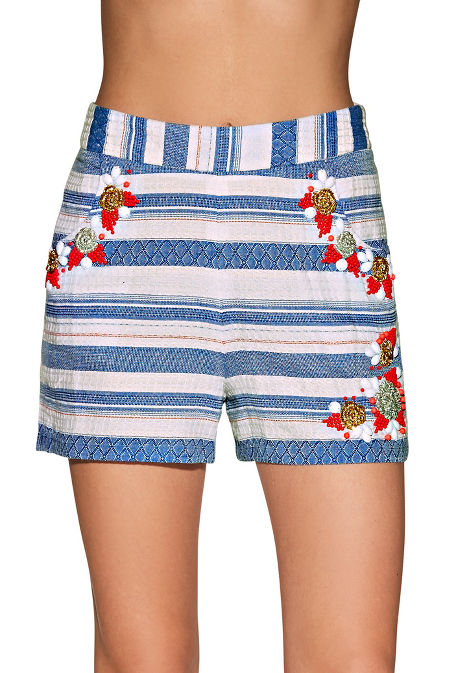 Beaded striped short image