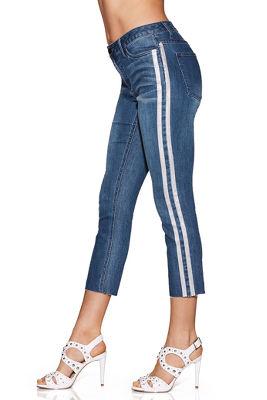Metallic stripe jean