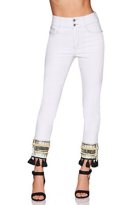 Tassel and bead hem ankle jean