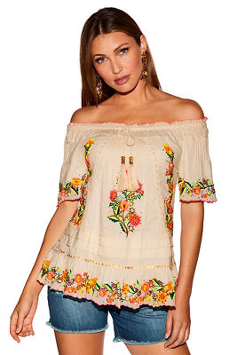 Beaded off-the-shoulder tassel tie blouse