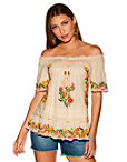 Beaded Off-the-shoulder Tassel Tie Blouse Photo
