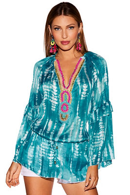 Beaded trim tie-dye tunic top