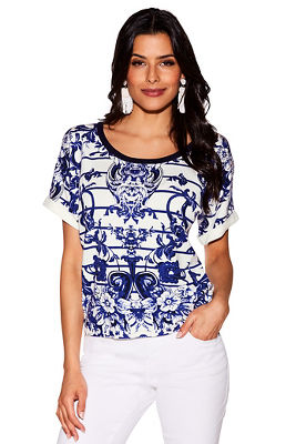china print short sleeve sweater