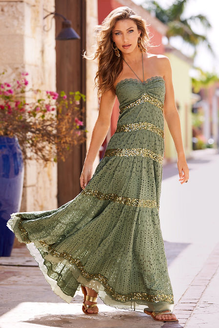 Crochet and sequin maxi dress image