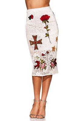 Embellished lace midi skirt