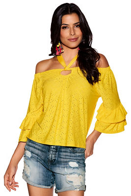 eyelet ruffle sleeve off-the-shoulder top