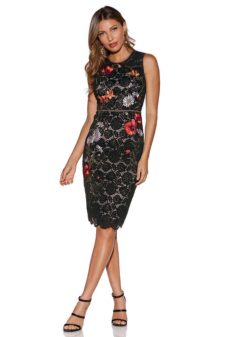 Floral embroidered lace dress image