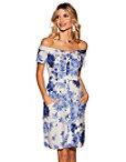 Floral Off-the-shoulder Printed Linen Dress Photo