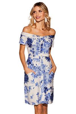 Floral off-the-shoulder printed linen dress