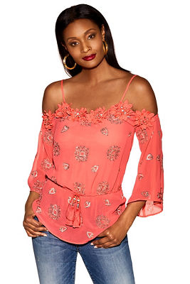 Floral trim sequin embroidered top