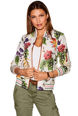 Floral vegan leather bomber jacket